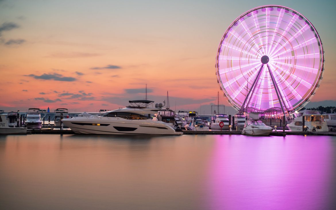Ferris wheel spinning illuminating pink and purple colors at dusk at harbor