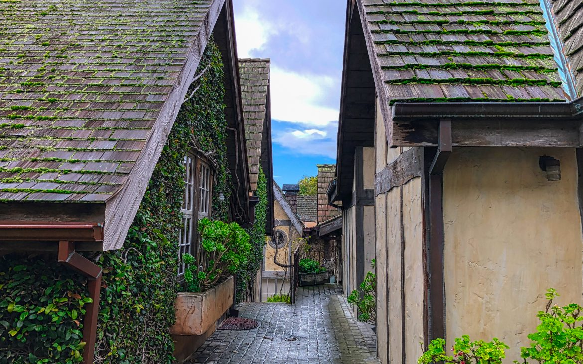 Quaint homes with A frames on cloudy day