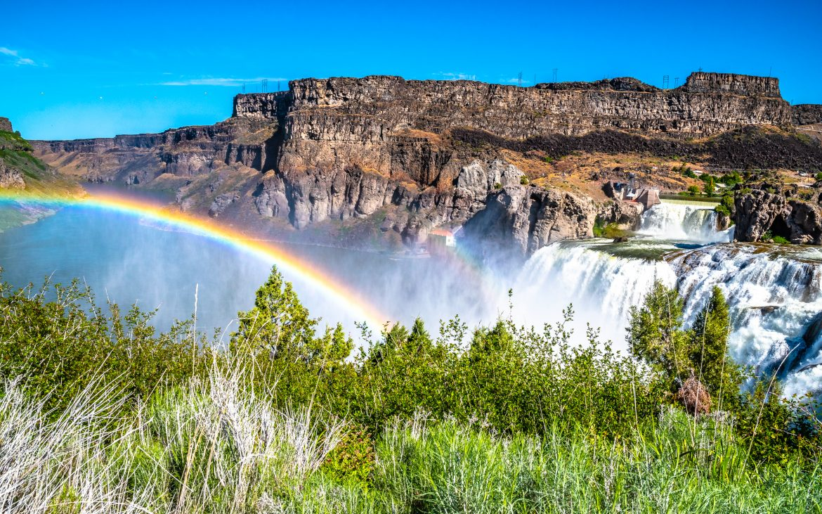 Beautiful Morning with Clear Skies and a Double Rainbow Over Shoshone Falls in Twin Falls, Idaho