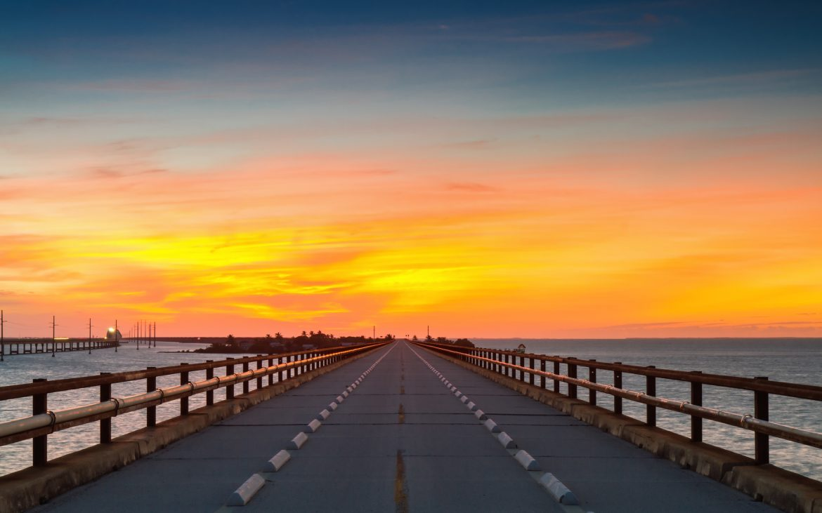 Sunset view from 7 mile bridge Florida Keys