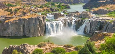 RV parks in the Pacific Northwest Spectacular aerial view of Shoshone Falls or Niagara of the West, Snake River, Idaho