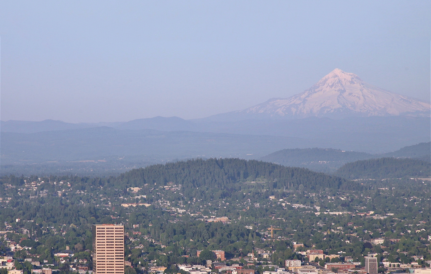 Mount Hood looms over the Portland cityscape.