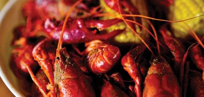 Close up bowl of crawfish