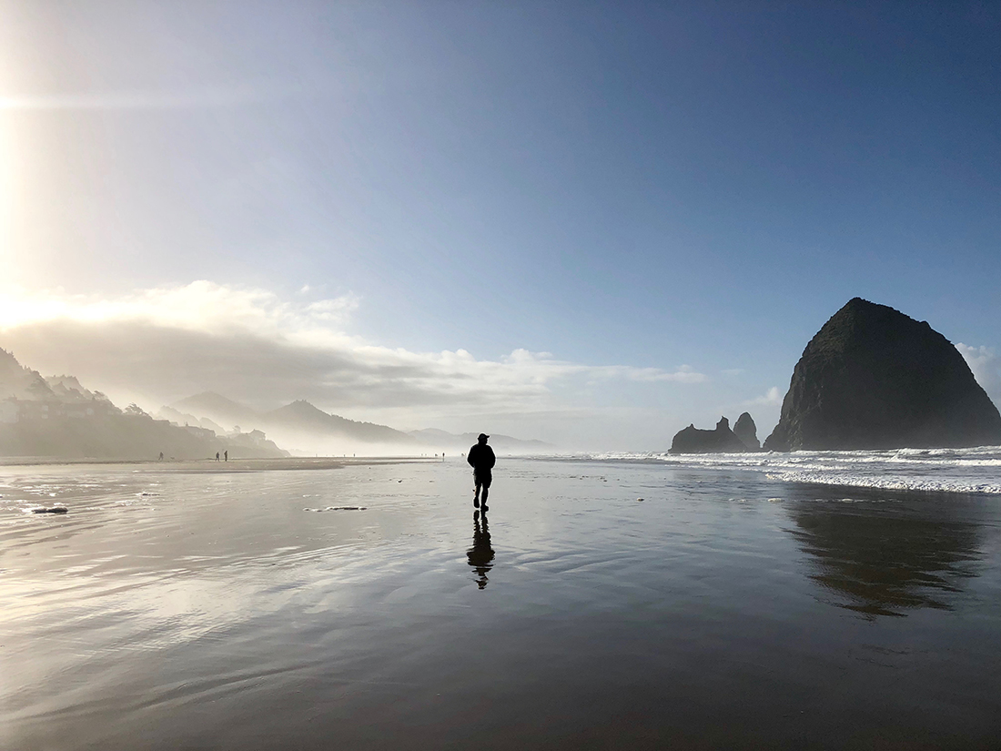 A long figure walks along a beach with looming rocks in the distance.