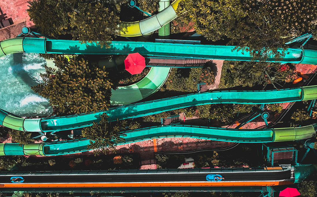 An aerial shot of Colorful waterslides.