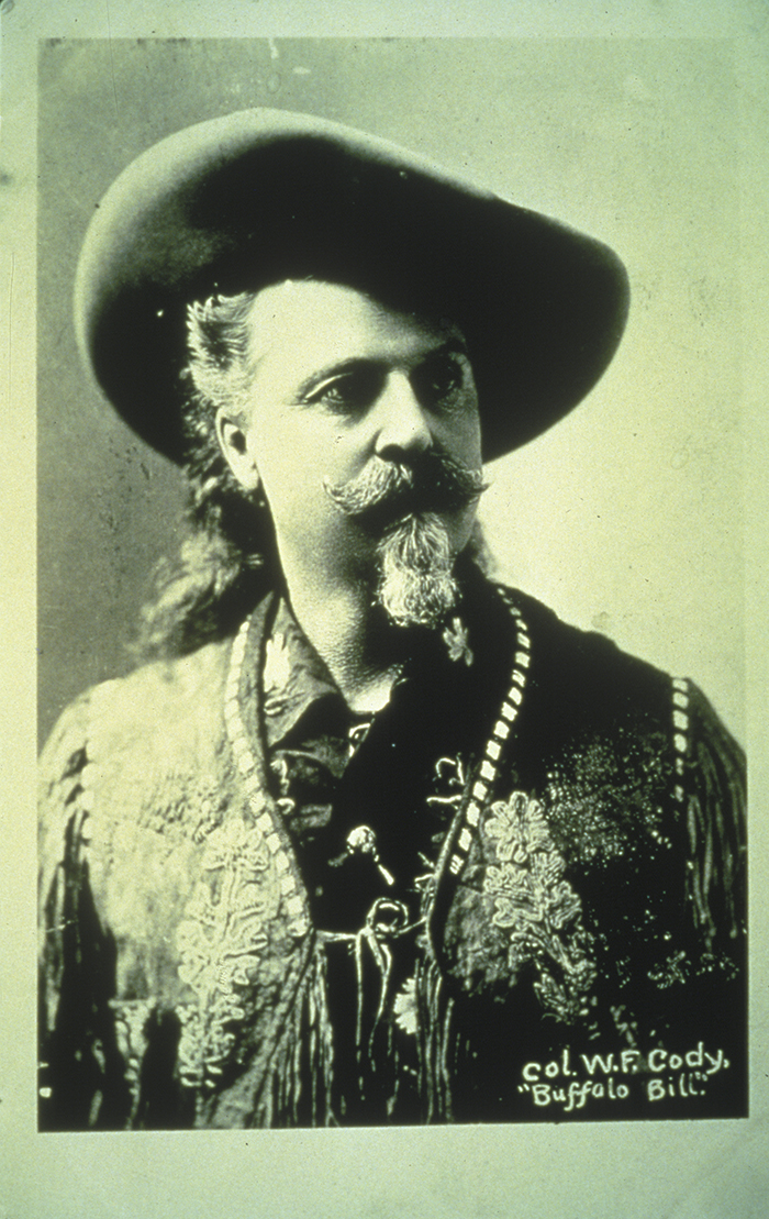 A sepia-type photo of Buffalo Bill at quarter profile.