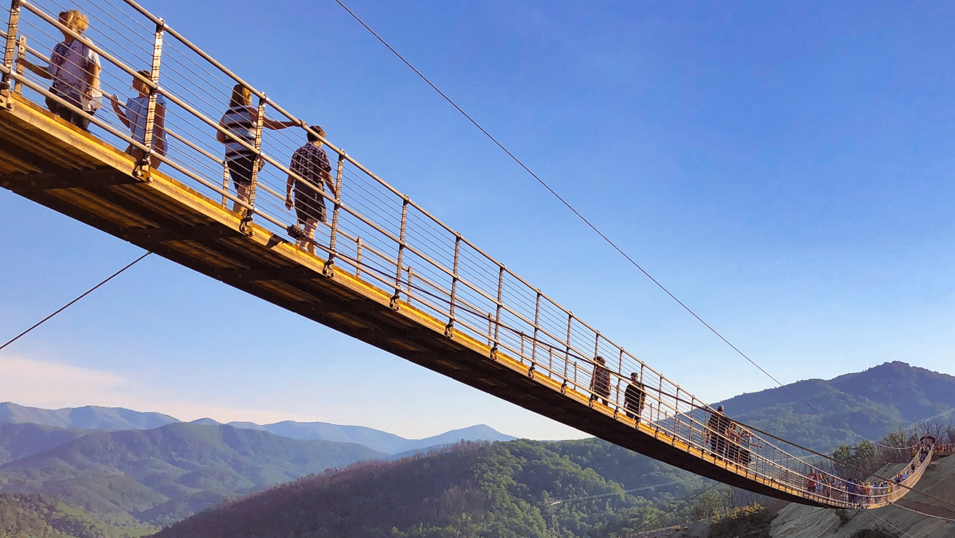 People walk across a sagging suspension bridge. Image taken from below.