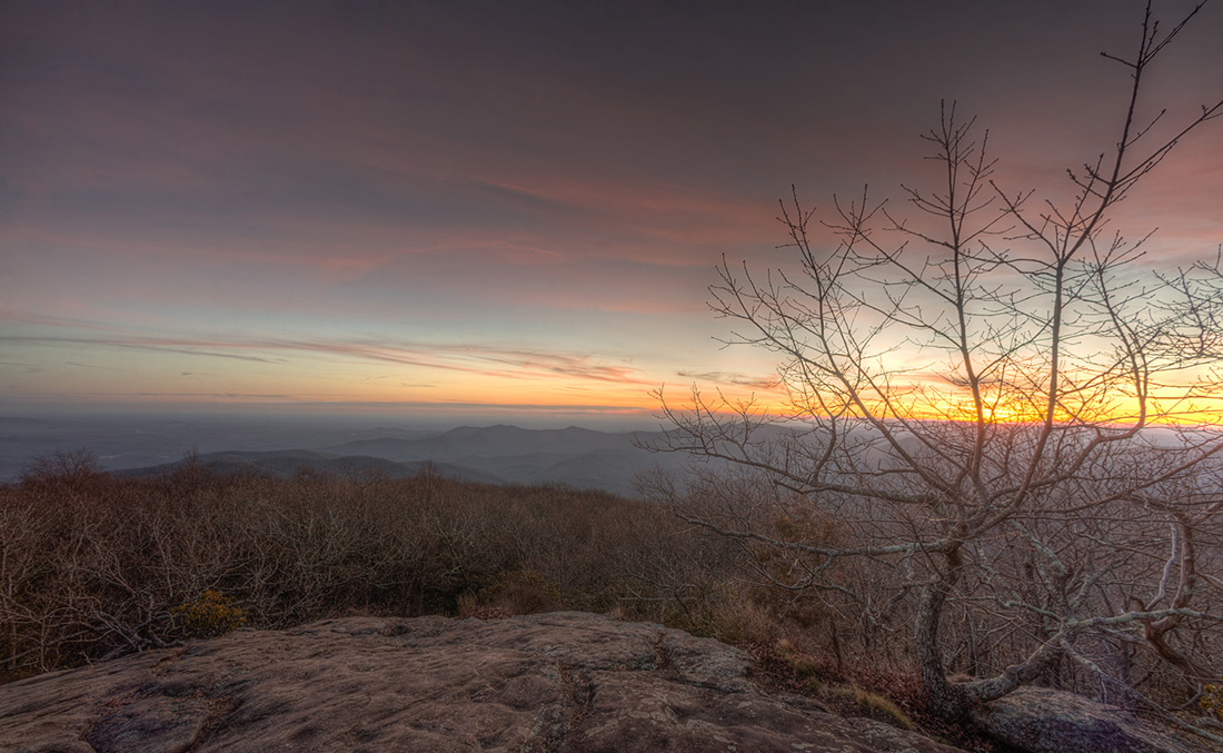 View of dusk from a summit overlooking rolling hills in Georgia.