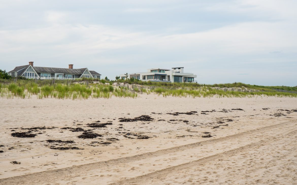 Large homes atop beach hill in Long Island