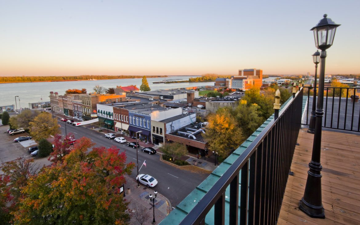 View of Paducah Kentucky Riverfront from balcony with colorful fall colored trees