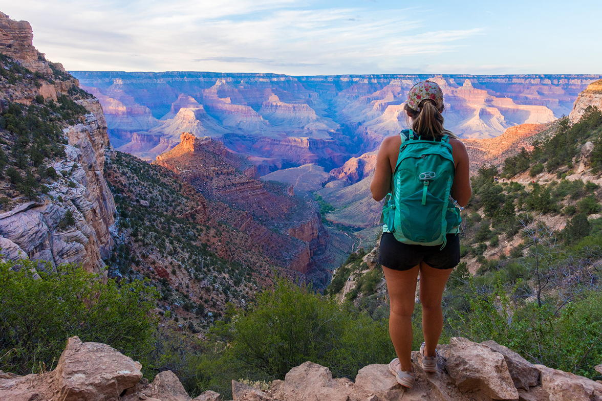 A solo hiker facing the vastness of the Grand Canyon.
