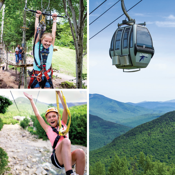 A collage of three pictures — two zipline riders and one gondola.