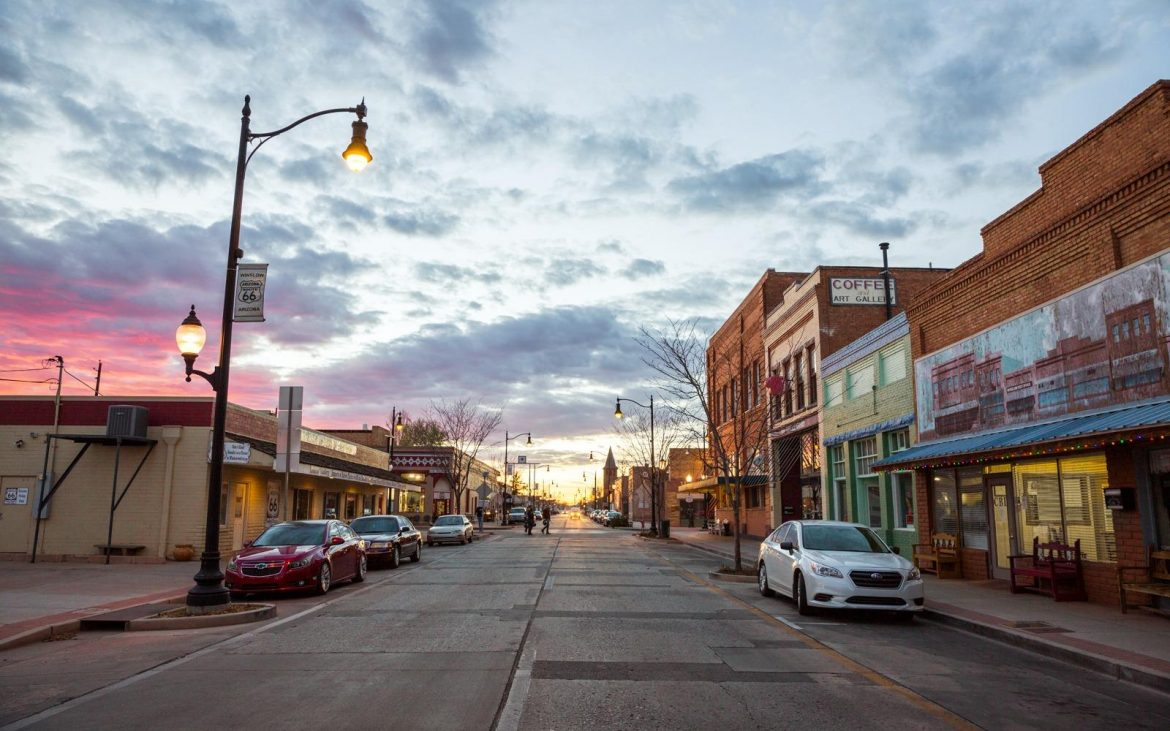 Old main street in Winslow at dusk