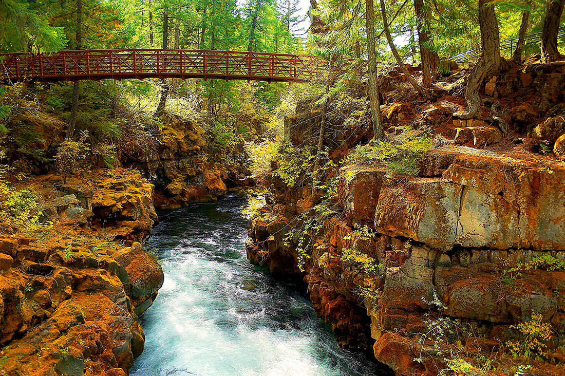 A footbridge gracefully arcs over a river gorge that's about 15 feet wide.