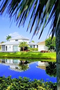 Small homes over look a canal flanked by lush green banks and palm trees.