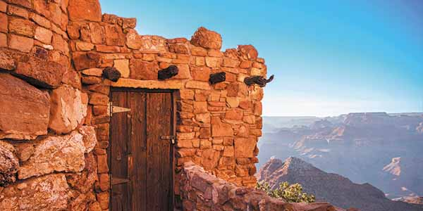 A Native American-inspired structure on the South Rim of the Grand Canyon