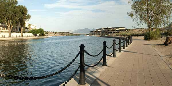 A walkway leading out to Lake Havasu
