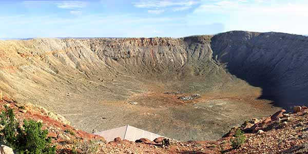 On top of the mountain looking at the meteor crater