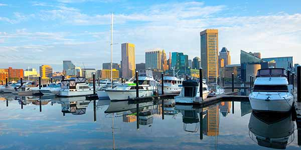 Downtown city skyline, Inner Harbor and marina in Baltimore