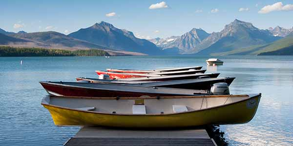 Boats on a dock on Lake McDonald, Glacier National Park