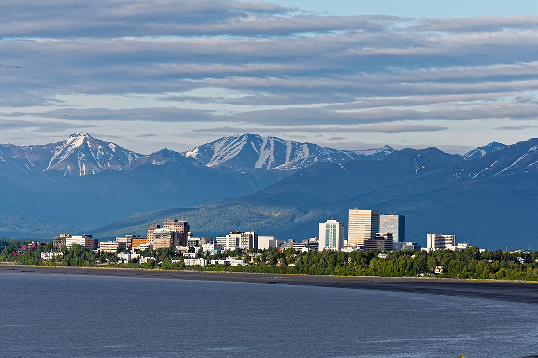 A view of Anchorage, Alaska, from the water.