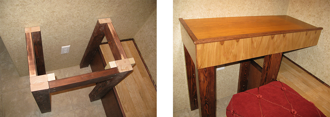 Side-by-side images of a workbench made of two-by-fours and playwood.