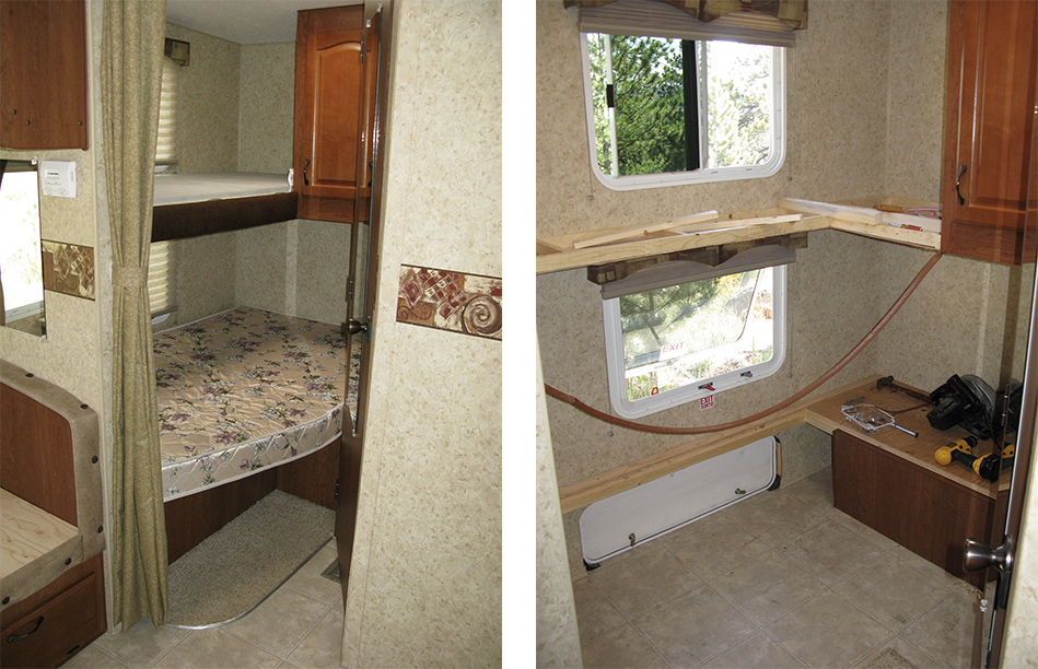 Side-by-side, before-and-after images of a converted bunkhouse in an RV.
