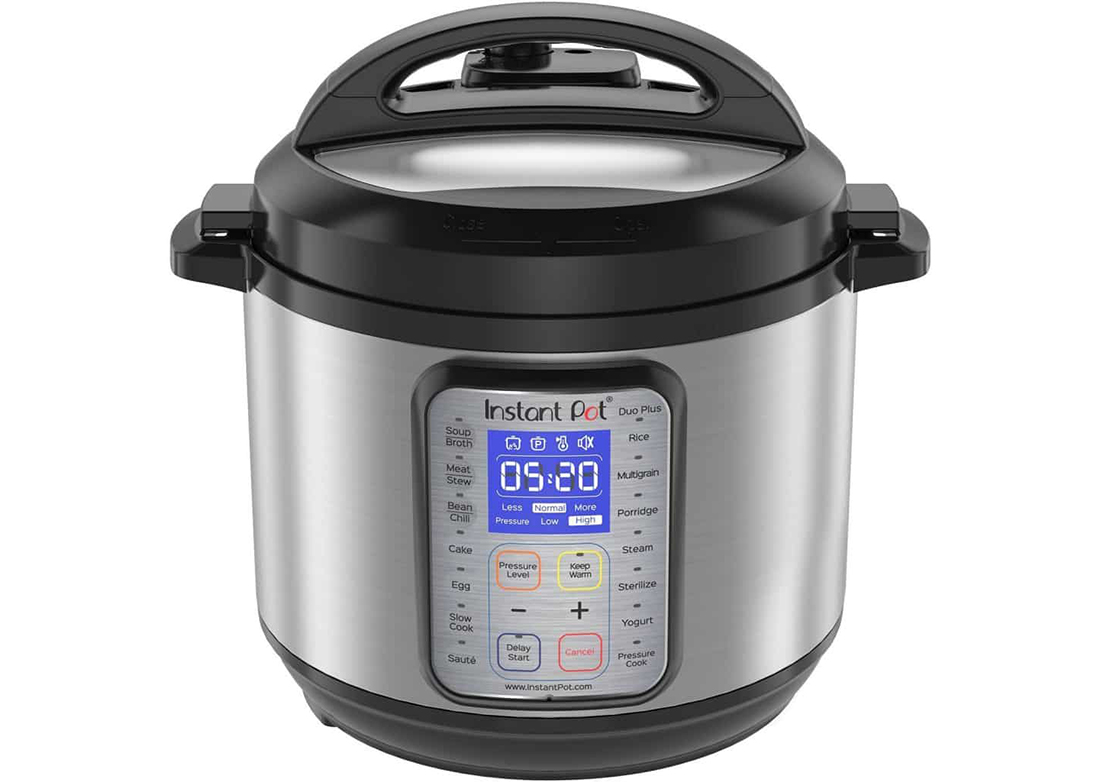 "A closed pressure cooker reading ""5:20"" with lid closed."