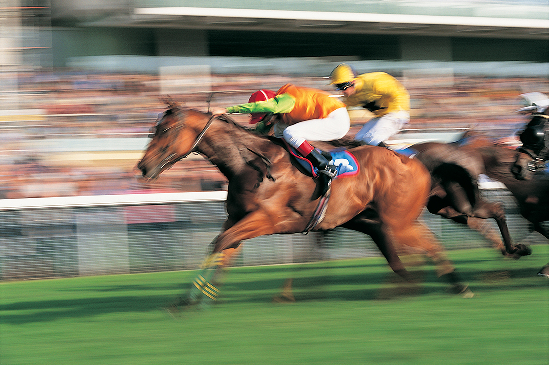 Horses racing in a blur with jockeys leaning forward for speed.