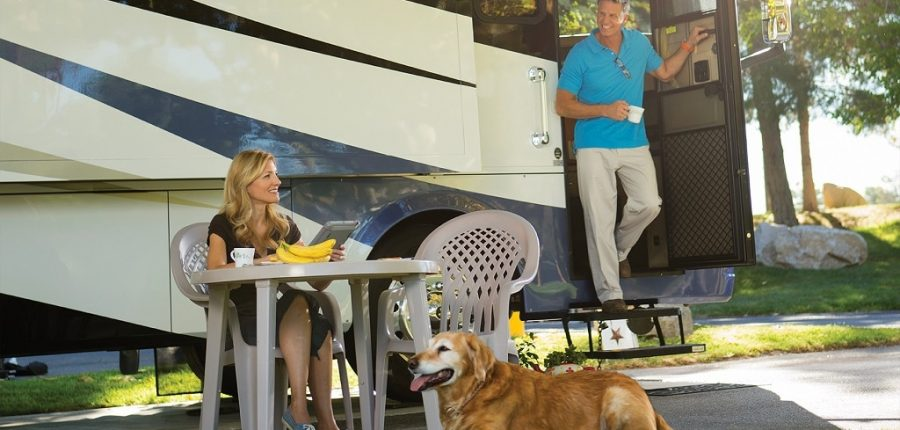 A couple lounge outside of their RV with a big dog sitting on the grass