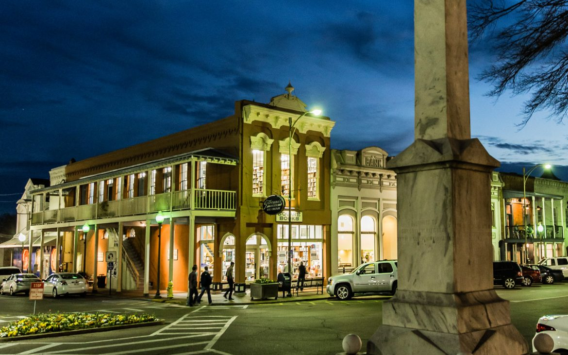 City square of Oxford Mississippi at nightfall