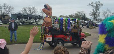 Paragon Casino RV Resort in Louisiana —a Mardi Gras float with a dinosaur