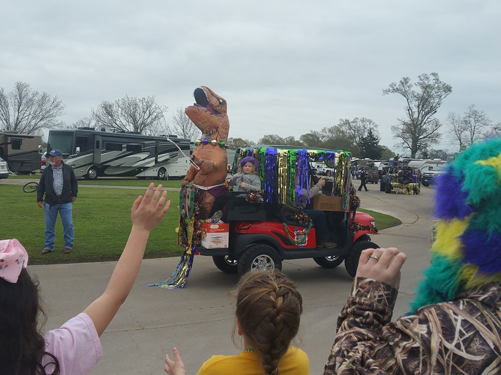 Paragon Casino RV Resort in Louisiana — a Mardi Gras float with a dinosaur