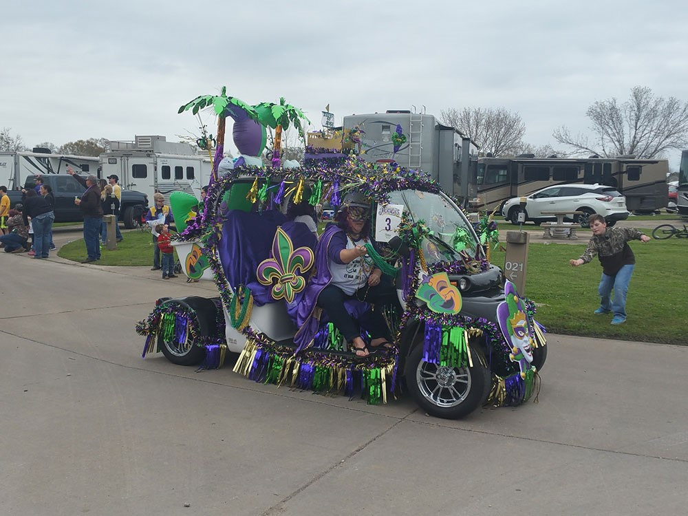 A costumed revelers drives a vehicle decked out in purple and green Mardi grass colors with streamers hanging of the side.