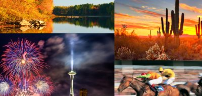 A collage of various travel destinations.