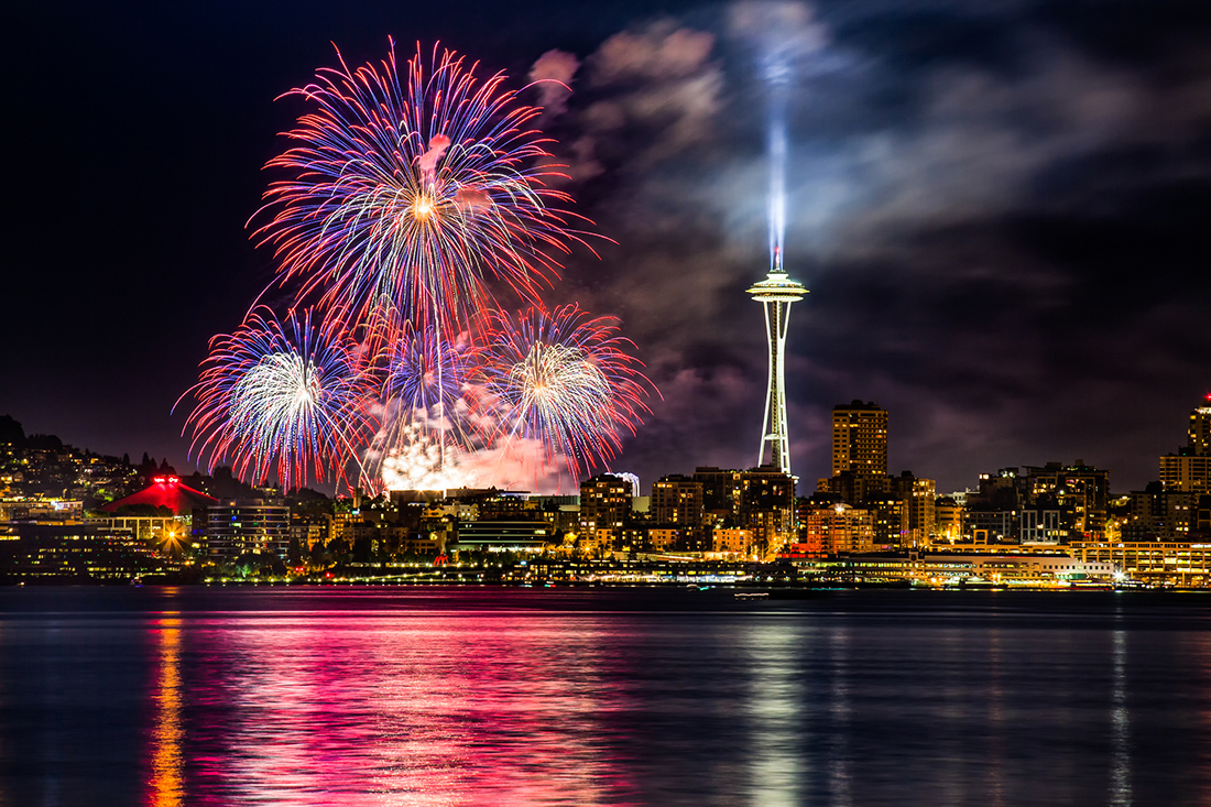 A fireworks display amid the Space Needle of Seattle.