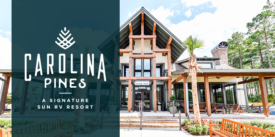 The front office of Carolina pines with logo prominently superimposed upon the image.