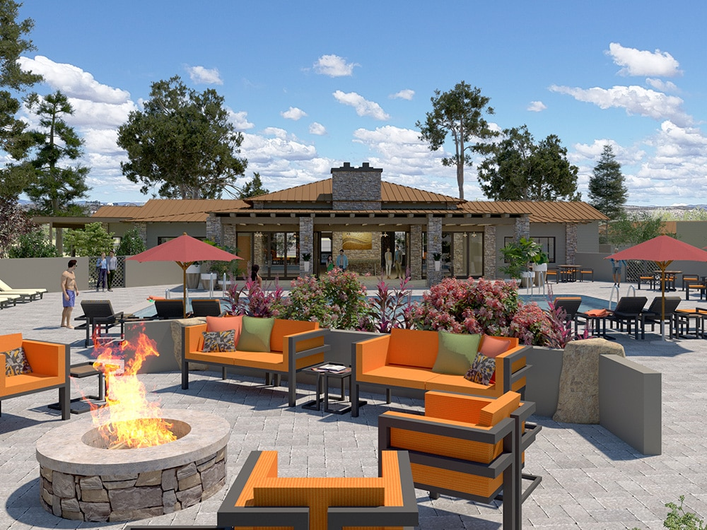 RV Resort in Verde Valley Arizona — Outdoor furniture arrayed around a firepit in a tastefully appointed patio.