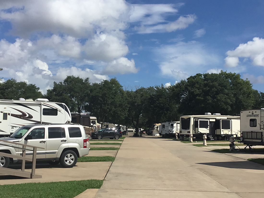 A look down a street in the campground lined with RVs.