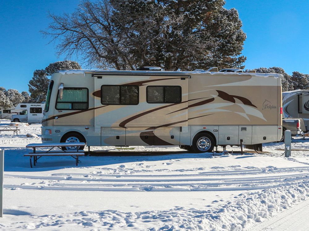 A motorhome with slide-out deployed parked in the snow in front of a bare tree.