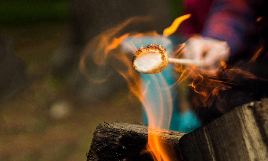 Flames lick the blackened surface of a marshmallow on a stick held over the fire by a person in red flannel.