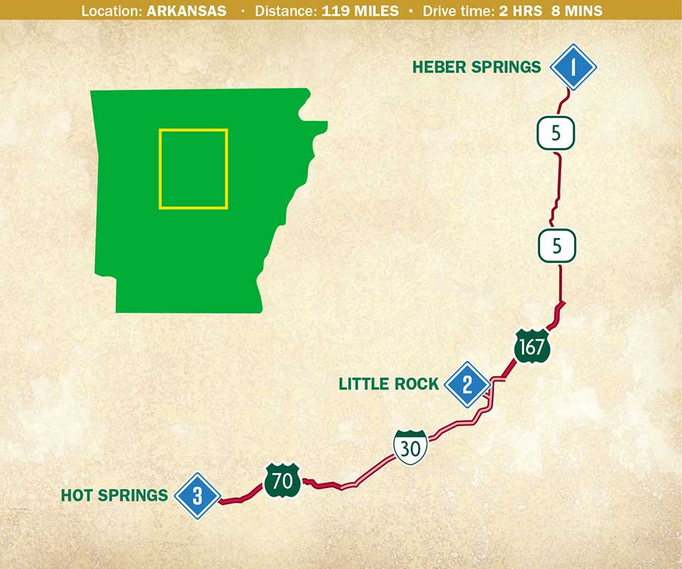 Map showing an Arkansas Trip
