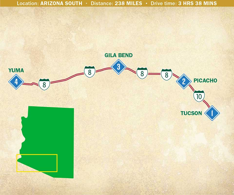 Map of Arizona indicating a route in the south half of the state.