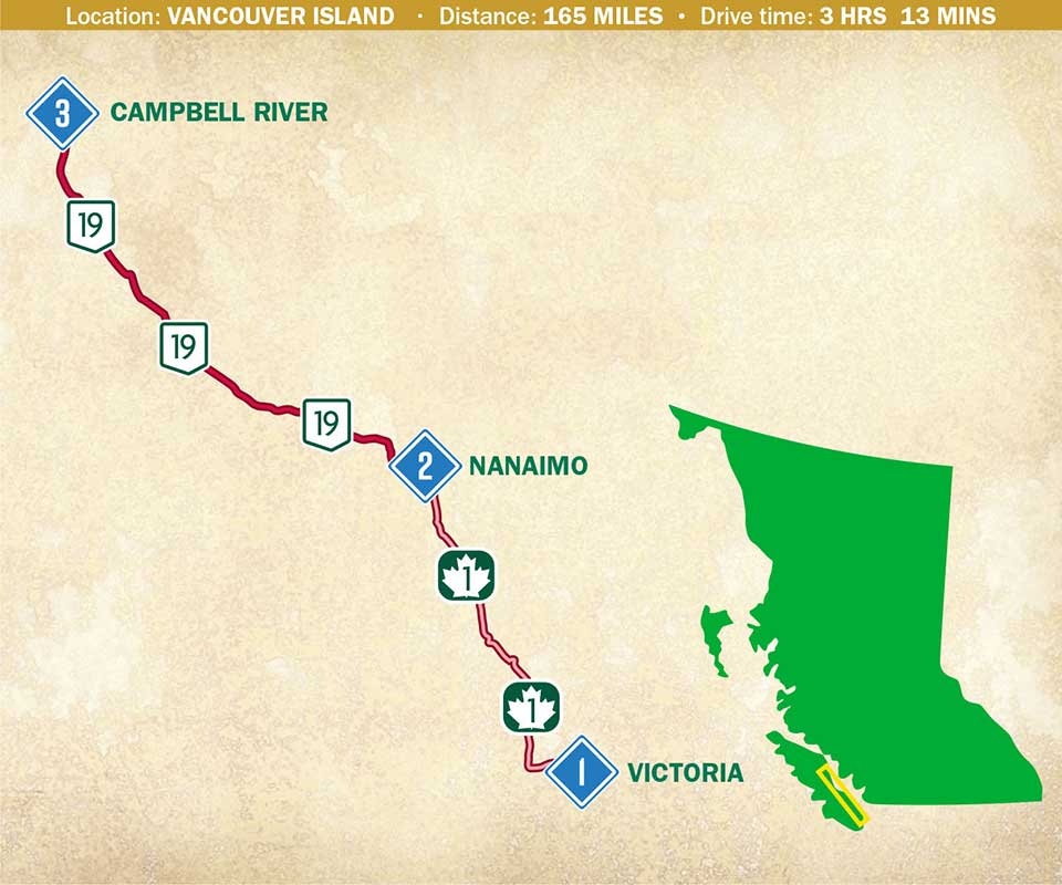 A map indicating a route through Vancouver Island's west coast.