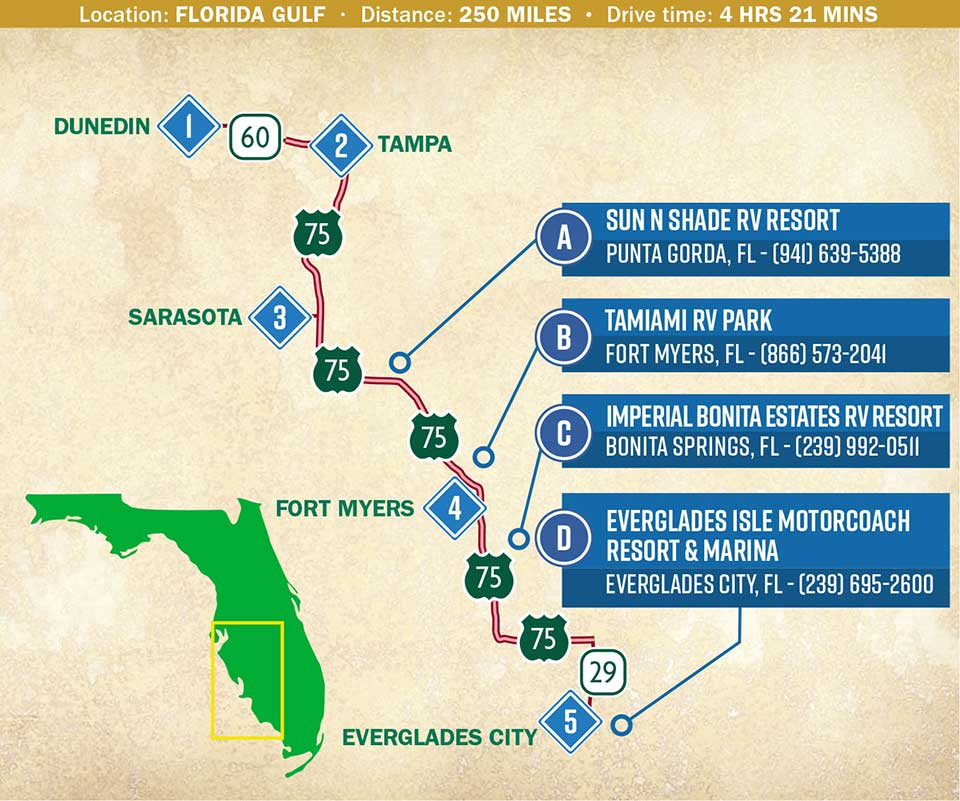 A map indicating a route through Florida Gulf region.