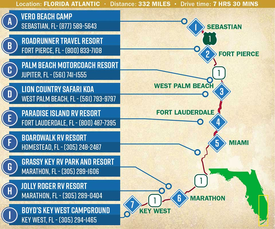 A map indicating a route through the Florida Atlantic coast.