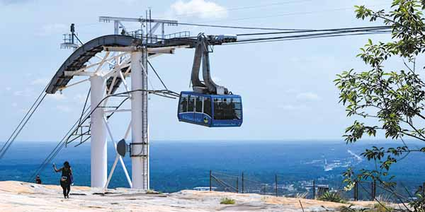 The Summit Skyride takes visitors to the top of Stone Mountain.