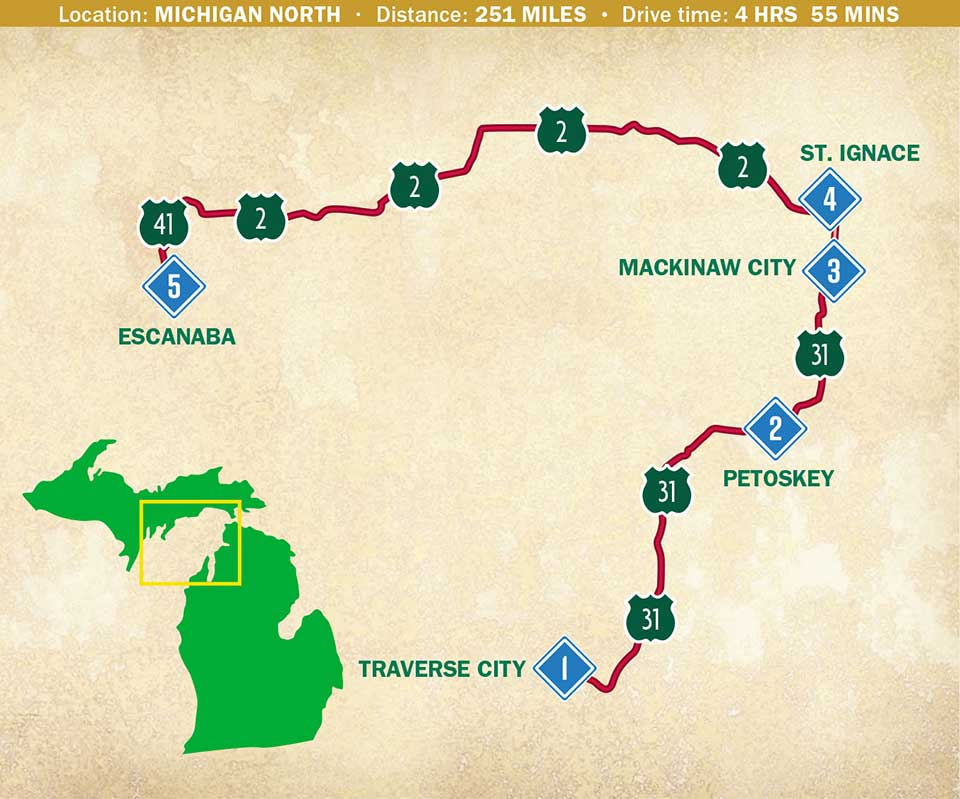 Map of a travel itinerary in northwest Michigan.