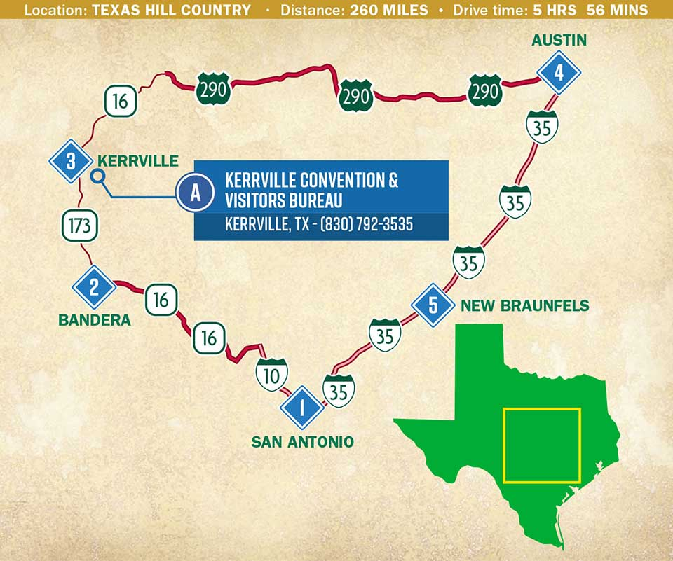 A loop map of Texas Hill Country in the heart of the Lone Star State.