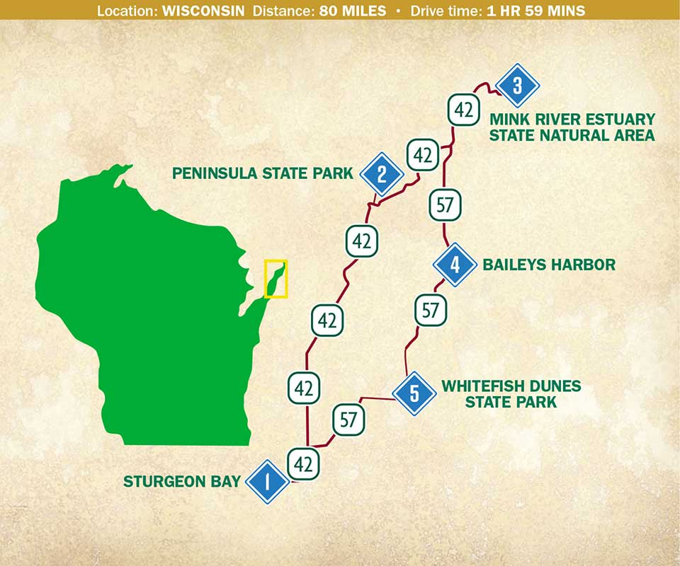 A map of Wisconsin with a loop itinerary on the top of an eastern peninsula.